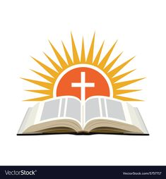 Bible sunset and cross Church logo concept vector image on VectorStock Grave Headstones, Baptism Banner, Sunday School Crafts For Kids, Church Logo, Bible Images, Banner Images, Borders For Paper, Logo Concept, Confirmation