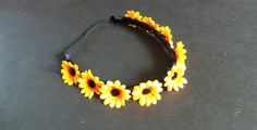 Daisy headband Plaited Synthetic Natural Black hair Daisy Hair Garland Adult size by CowlingCountryCrafts on Etsy