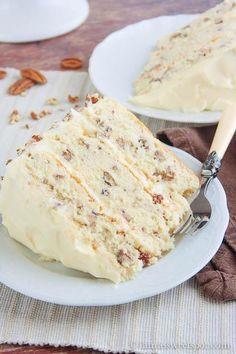 Butter pecan cake - http://laurassweetspot.com/2012/05/09/toasted-butter-pecan-cake/
