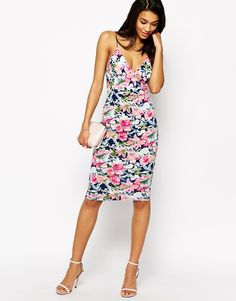 Placement Print Mini Dress With Shoulder Detail - White base print Club L qci34czP5m