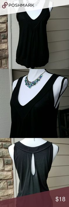 Rebecca Beeson V-Neck Tank W/Keyhole Back SZ S/M Lightweight Semi-Sheer, Black V-Neck W/Gathering at Bust, Band Around Bottom, Keyhole Detail in Back. This is labeled a Size # 2 - which according to Rebecca Beeson  size chart is a small. It is a generous small & could probably fit a Medium. Please see measurements. Tops Tank Tops
