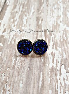 Druzy Earrings, 12 mm Druzy, Druzy Studs, Deep Blue Earrings, Natural Color Druzy Earrings, Affordable Jewelry, Earth Jewelry by BrandywineHD on Etsy