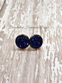 Druzy Earrings, 12 mm Druzy, Druzy Studs, Deep Blue Earrings, Natural Color Druzy Earrings, Affordable Jewelry, Earth Jewelry by BrandywineHD on Etsy