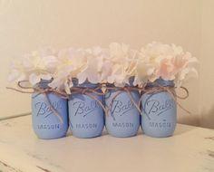 Baby Blue Distressed Mason Jars, Light Blue, Rustic Nursery, Baby Boy Baby Shower, Wedding Mason Jars, Painted Mason Jars, Shabby and Chic by MyHeartByHand on Etsy