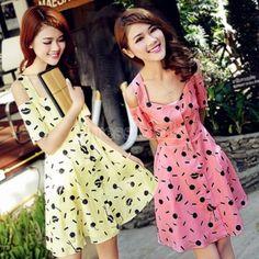 New Summer Women's Hollow Shoulder Dot Printed Short Sleeve Chiffon Mini Dress