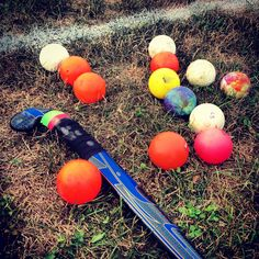 Field hockey stick and balls(: