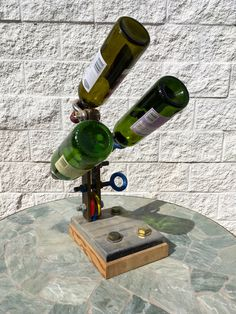vintage Flying trapeze parts made into wine bottles holder