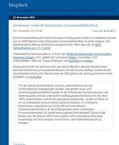 Stralsund verkauft historische Gymnasialbibliothek