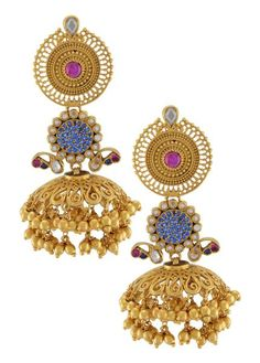 This temple style necklace is handcrafted in gold plated silver, studded with multi colored glass and pearls, beautified with peacock and floral motifs. Tribal Jewelry, Indian Jewelry, Gold Jewelry, Gold Earrings, Jewelry Box, Diwali Jewellery, Traditional Earrings, Silver Anklets, Necklace Online