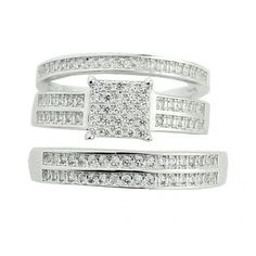 His and Her Trio Rings Set 3pc 1cttw Cubic Zarcons Pave Set Sterling Silver #MidwestJewellers #TrioWeddingSet
