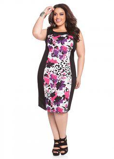 d70d30603f Ashley Stewart: Floral Color Block Linen Plus Size Dress Ashley Stewart,  Curvy Girl Fashion