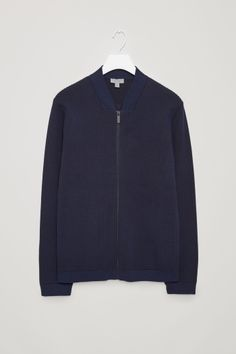 COS image 2 of Raised knit zip-up jacket in Indigo