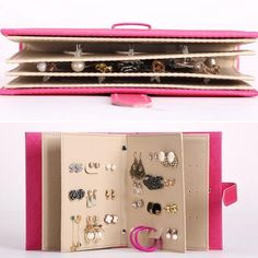Cool & Unique Chic Fashion Portable Travel Little Book Design PU Leather 42 Earring Jewelry Organizer/Storage 4 Colors - Loluxe - 12