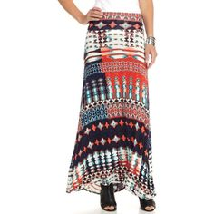 New Directions Navy  Orange  Aqua Tie Dye Tribal Maxi Skirt - Women's ($30) ❤ liked on Polyvore featuring skirts, print maxi skirt, orange maxi skirt, navy maxi skirt, long tribal skirt and long patterned skirt