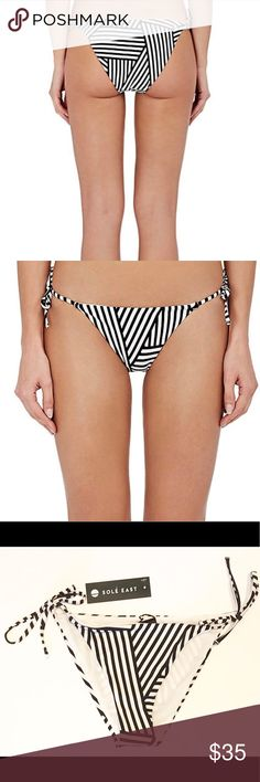 Sole East Bikini Bottom Black White Stripe SIze S Side ties make sexy hips on a cheeky bikini bottom, styled with black and white stripes.  Top sold separately. Bottoms Only   -NWT $48 - Bikini cut - Self-tie side straps - Minimal coverage - Lined - Size Small Fiber Content Shell: 83% polyester, 17% spandex Lining: 100% polyester Sole East Swim Bikinis