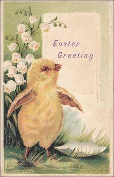 Vintage Postcard Easter Greeting chick by sharonfostervintage, $3.50