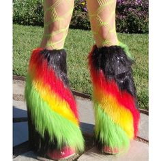 Furry Boot Covers, SpARkLe RASTA SWIRL, Leg Warmers , Red Yellow... ($49) ❤ liked on Polyvore