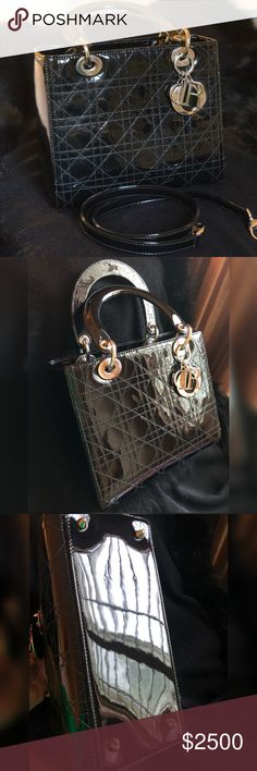 Lady Dior black patent leather/ medium Brought from The dior store in Las Vegas many years ago, but only use twice for friends wedding . It is still in excellent condition just like new, looking for sale only no trade. Christian Dior Bags
