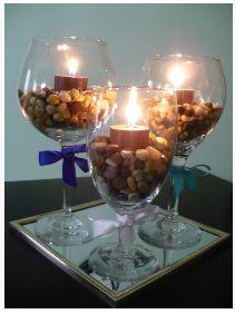wine glass center piece