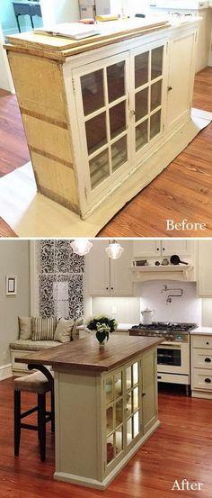 DIY Furniture Makeovers: DIY Kitchen Island with Old Furniture.