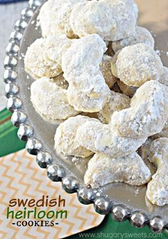 Whether you call these by Swedish Heirloom Cookies or by many of their other names (Snowballs, Mexican Wedding Cookies, Russian Tea Cakes), you just need to try them. The buttery almond flavor melts in your mouth! #fisherunshelled