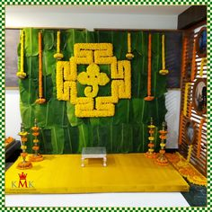 pre- Want to feel fresh and scintillating decor on your special day. Then look at this It's a mixture of (banana Leaf) and devotional (lord Ganesha) vibe! Tiredfor pre- Want to feel fresh and. Background Decoration, Backdrop Decorations, Diy Diwali Decorations, Flower Decorations, Naming Ceremony Decoration, Marriage Decoration, Ceremony Decorations, Desi Wedding Decor, Simple Wedding Decorations