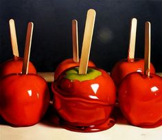 dessert idea mini Candy Apples, 2009 oil on canvas by Margaret Morrison, courtesy of Woodward Gallery, NYC Food Painting, Apple Painting, Red Candy, Candy Art, Sweetest Day, Candy Apples, Apple Candy, Healthy Recipes, Food Illustrations