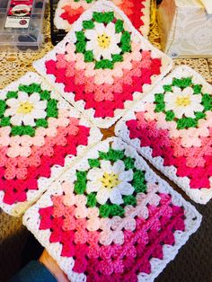 try with only two of the half granny colors. Use different layouts. free pattern