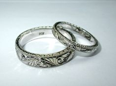 SALE!!! SALE!! Two Hand Engraved 14 K Solid White Gold Engagement  Rings / Wedding Bands (set). Art Deco Style on Etsy, $800.00