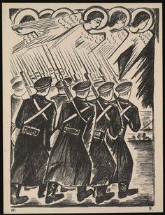 Natalia Goncharova. Khristolyubivoe voinstvo (Christian Host) from Misticheskie obrazy voiny. 14 litografii (Mystical Images of War: Fourteen Lithographs). 1914