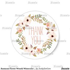 Anemone Flower Wreath Watercolor Peach White Classic Round Sticker  #zazzle #junkydotcom 5x