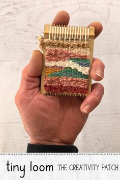 Miniature Loom - This little loom comes with everything you need to get started weaving – free weaving tutorials t - Paper Basket Weaving, Straw Weaving, Weaving For Kids, Weaving Art, Weaving Patterns, Tapestry Weaving, Loom Weaving, Pin Weaving, Weaving Textiles