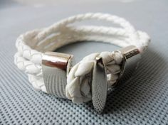 bangle bracelet leather and stainless steel $6.50