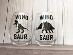 Wino Saur Wine Glasses - Wine Glasses With Sayings - Wine Glasses Funny - Wine Lover Gift - Stemless Wine Glass - Dinosaur Wine Glass - Dino