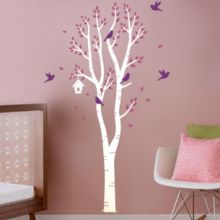 Birch Tree with Bird House & Birds Wall Decal $85.00 www.decalmywall.com