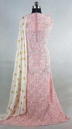 Very beautiful dense Embroidered Chikankari fabric with brocade duppata Ethenic Wear, Indian Dresses, Kurti, Womens Fashion, Fabric, How To Wear, Wedding, Beautiful, Design