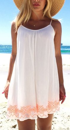 30 Summer Outfits To Rock This Season White National Embroidery Spaghetti Strap Shift Dress The Best of summer fashion in Beach Dresses, Cute Dresses, Casual Dresses, Cute Outfits, Summer Dresses, Dress Beach, Mini Dresses, Casual Outfits, Beach Outfits