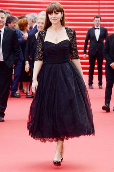Monica Bellucci opted for a Dolce & Gabbana black lace dress.