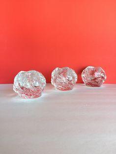 Trio of Vintage Kosta Boda Style Snowball by SandHollowVintage