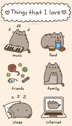 Who is Pusheen? This collection of oh-so-cute kitty comics—featuring the chubby, tubby tabby who has taken the Internet by storm—will fil. Kawaii Pusheen, Gato Pusheen, Pusheen Love, Chat Kawaii, Kawaii Cat, Pusheen Stuff, Fat Cats, Cats And Kittens, Crazy Cat Lady