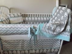 Elephant Gray and Aqua  Baby bedding Crib set by abusymother, $50.00