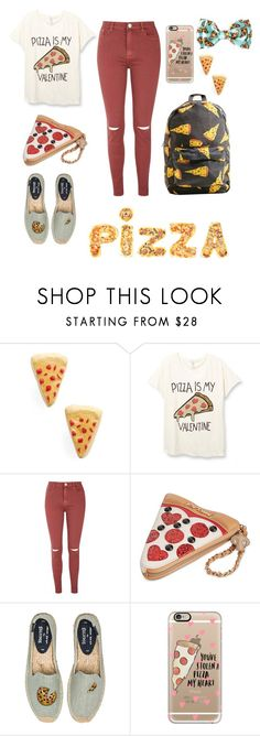 """""""Pizza outfit"""" by amandalovestyle ❤ liked on Polyvore featuring Venessa Arizaga, Glamorous, Betsey Johnson, Soludos, Casetify, love, follow and pizza"""