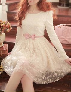 Sweet Bow Belted Lace Dress - Glitzx