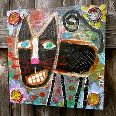 """""""Black Cat Garden"""" an acrylic on wood cat painting by me. #catart #cats #blackcat #outsiderart #rawbrutart #garden #mixedmediaart #painting #originalpainting #naiveart #traceyannfinleyart #traceyannfinley"""