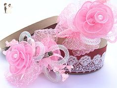 """""""Dahlia"""" Baby-Girl Bow Hair Sets of 1 Headband/Hoop and 2 Clips/ Barrettes - Bridal fashion accessories (*Amazon Partner-Link)"""