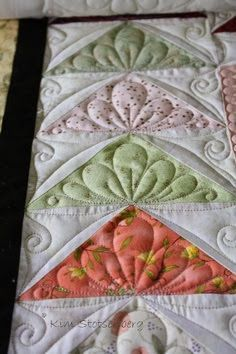 As I cruise around Pinterest, often I see pins of my quilting in a Flying Geese border from this post.  With this I've had several inquiries about what path I used to quilt this border... So here it i