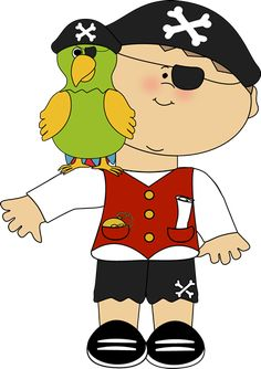 Pirate with a parrot on his shoulder.
