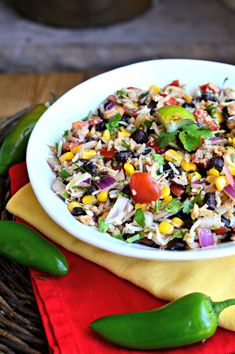 Southwestern Tuna with Rice. A healthy & light summer dinner or side dish for a backyard BBQ: southwestern tuna with rice corn & black beans. Gluten and dairy-free. Healthy Salads, Healthy Eating, Healthy Recipes, Healthy Lunches, Healthy Food, Detox Recipes, Stay Healthy, Healthy Weight, Seafood Recipes