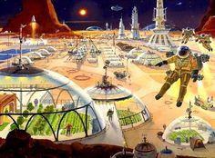 Mars Metropolis by Robert McCall  #Mars  #SpaceColony  #RobertMcCall