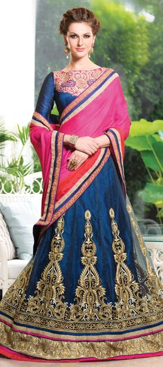 153987: Blue, Pink and Majenta color family Saree with matching unstitched blouse.